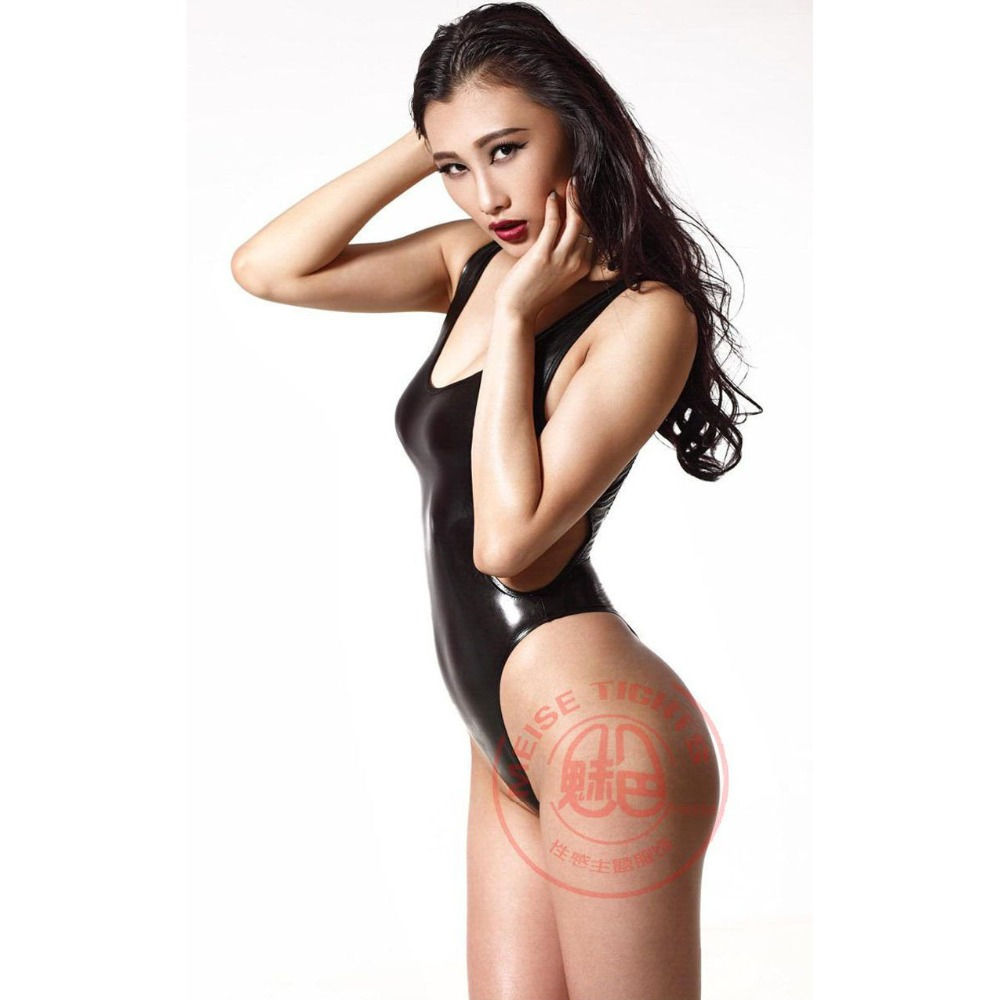 Sexy Latex Faux Leather Bodysuit Hollow Out Backless High Cut Swimsuit Leotard Sexy Tights Stage Wear Plus Size Women Купальник