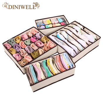 DINIWELL 4PCS Storage Boxes For Ties Socks Shorts Bra Underwear Divider Drawer +1PCS Desktop cosmetics Zakka Makeup UP Organizer