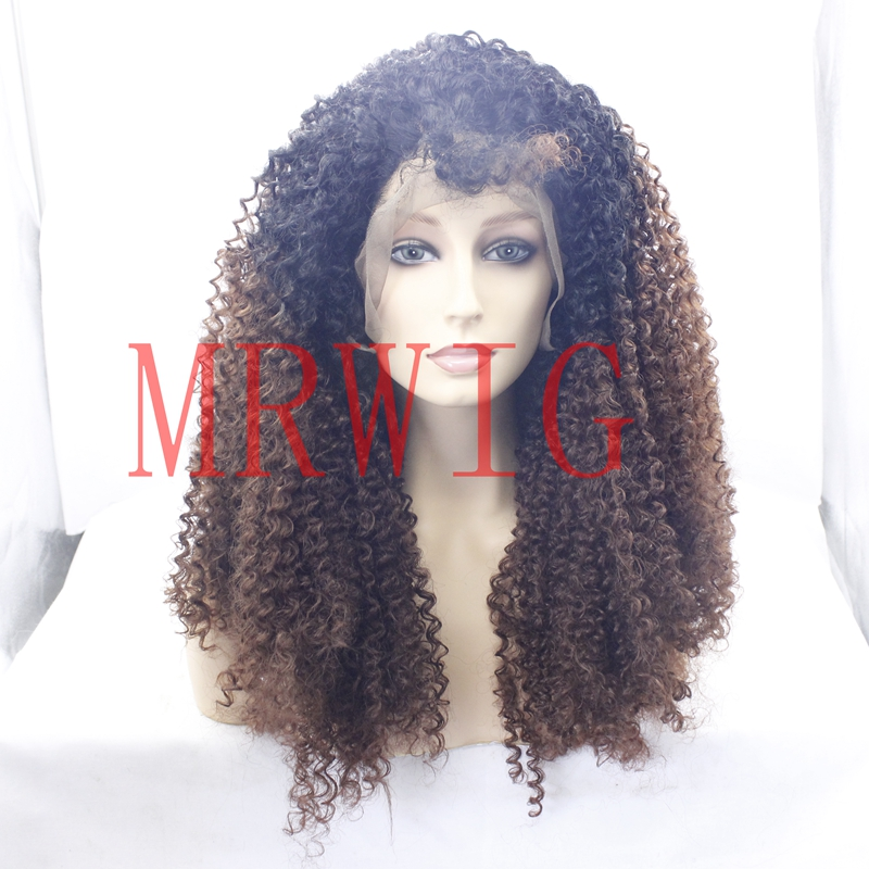 MRWIG 1b#/33# synthetic glueless afro kinky curly free part baby hair heat resistant fiber high density 180% can heat