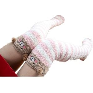 Японские Гольфы с изображением Мори для девочек милые теплые носки в полоску на осень и зиму удобные длинные гольфы Kawaii