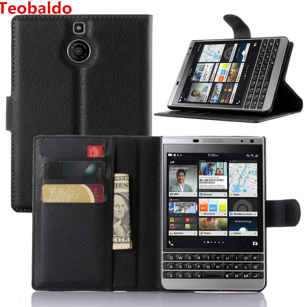 Luxury Wallet PU Leather <font><b>Case</b></font> Cover For <font><b>Blackberry</b></font> <font><b>Passport</b></font> <font><b>Silver</b></font> <font><b>Edition</b></font> Flip Protective Cell Phone Shell Back Cover Bag image