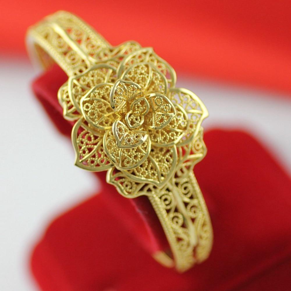 f6d133e0f43e Filigrana flor en forma de brazalete de oro amarillo relleno Mujer pulsera  accesorios de boda en Brazaletes de Joyería y accesorios en AliExpress.com  ...