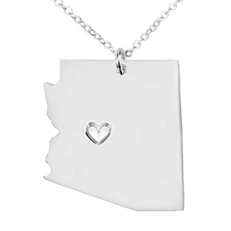 Idaho Necklace 316 Stainless Steel American State With Hollow Heart Map Necklace Statement Pendant Jewelry 5PCS
