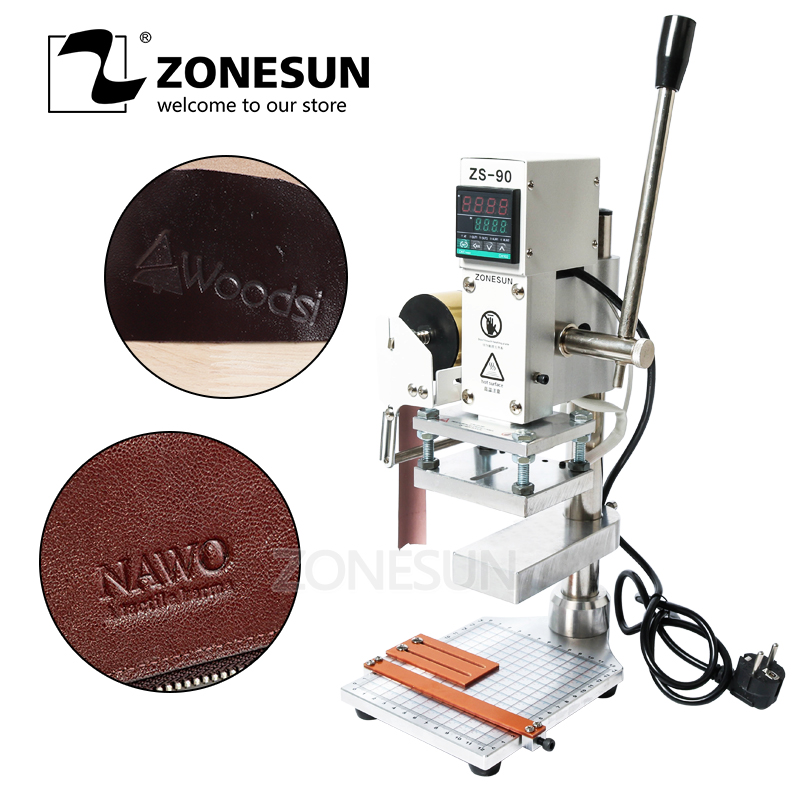 ZONESUN  Hot Foil Stamping Machine Manual Bronzing Machine With Working Table For PVC Card Leather And Paper Wallet Bag