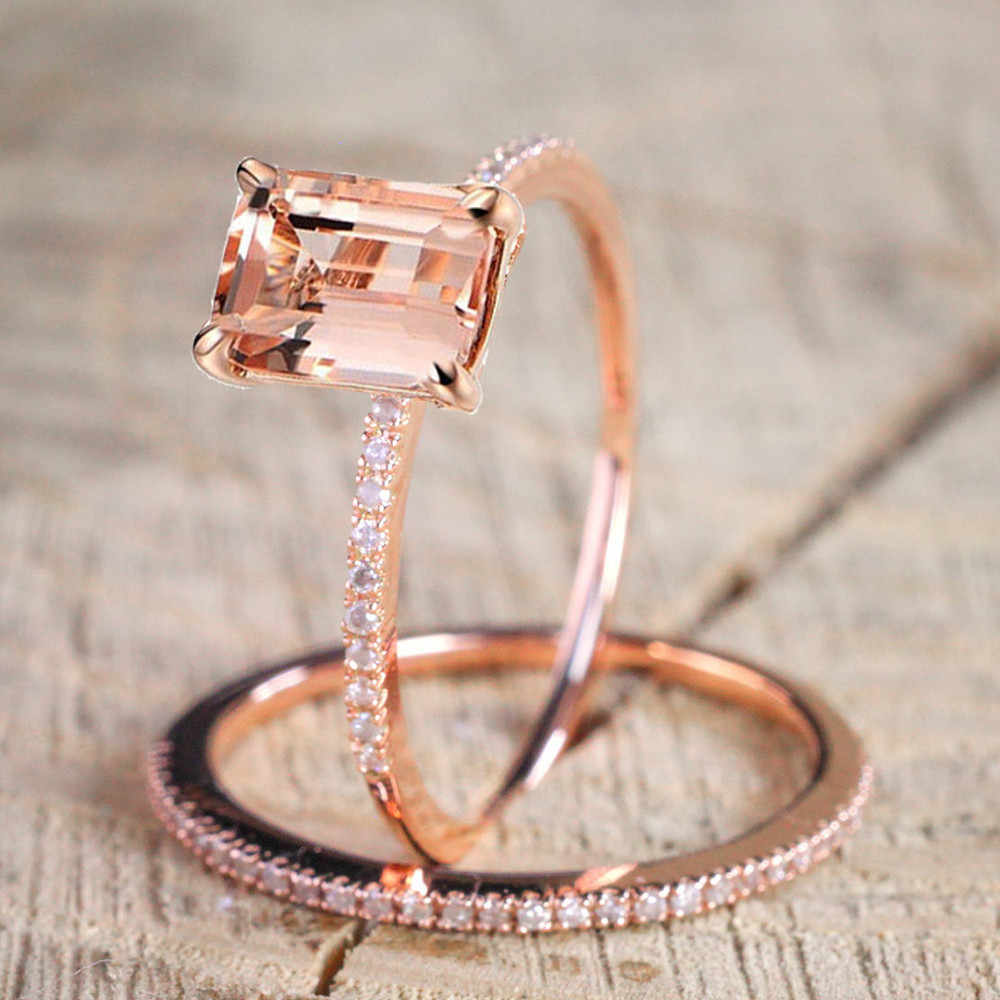Female Square Ring Set Luxury Rose Gold Filled Crystal Zircon Ring Wedding Band Promise Engagement Rings For Women Jewelry Gifts