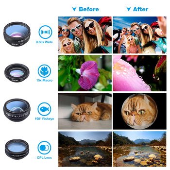 1 Set Lens 10 in 1 phone Camera Lens Kit Fish Eye Wide Macro Star Filter CPL Lenses for iPhone XS Mate Samsung HTC LG 2