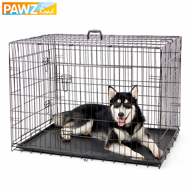 Domestic Delivery Pet Dog Cage House Solid Crate Double-Door Kennel Collapsible Easy Install 4Size Dog House for Small Large Dog 1
