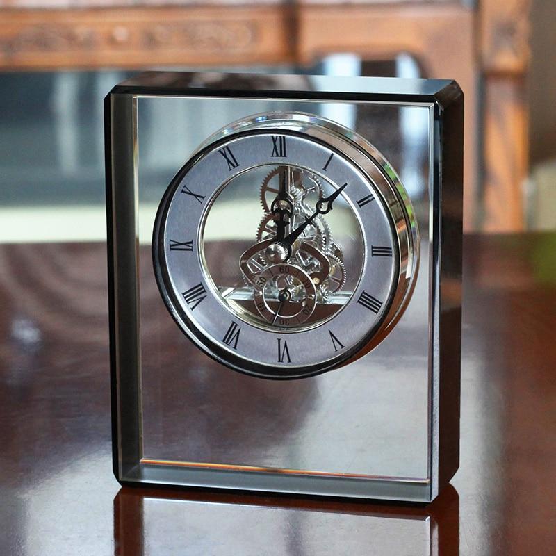 European Mechanical Clock Decoration Home Decoration Living Room Creative Desktop Crystal Clock American Wine Cabinet Crafts
