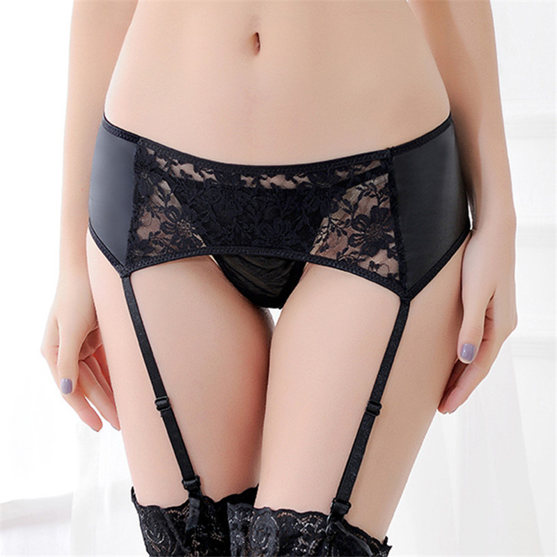 Plus Size Lace Top Thigh-Highs Garter Belt Black Floral Suspender Belt Temptation Wedding Garter For Stockings Sexy Lingerie