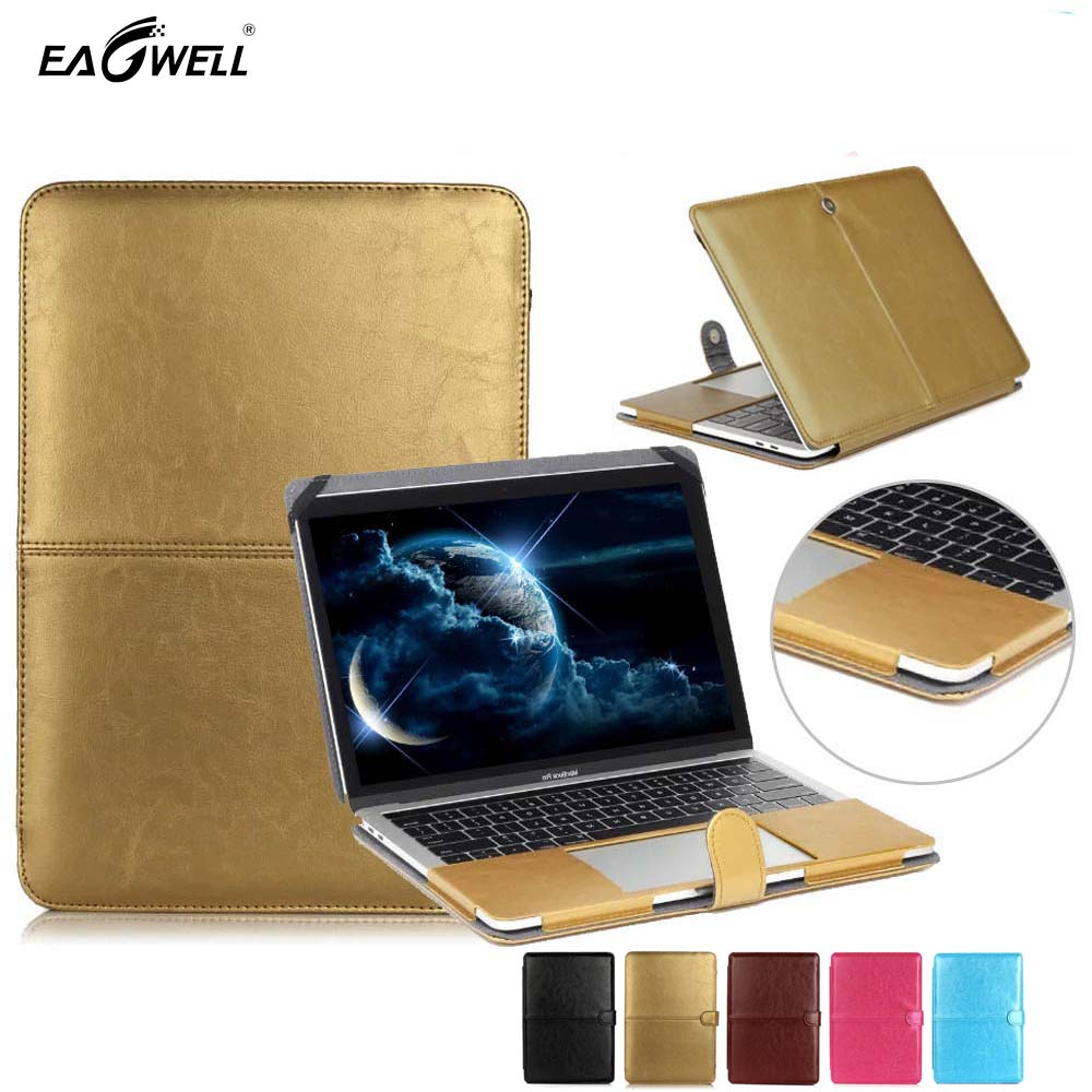 Laptop Sleeve For Pro 13 Retina Case Leather Gold Computer Notebook Cover Stand for Apple Mac A1708 A1706 Bag Funda 2016 image