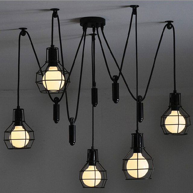 Vintage industrial nordic loft edison bulb chandelier retro ceiling vintage industrial nordic loft edison bulb chandelier retro ceiling spider pendants antique adjustable e27 indoor art aloadofball
