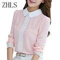 Primavera Outono Mulheres Blusas de Crochê Rendas Chiffon Blusa Rosa De Manga Comprida Camisa Feminina Gola Peter Pan Tops Casuais