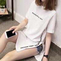 Nkandby Большие размеры замечательный день печати длинные футболки лето Для женщин Свободные разрез Femme Топы хлопковая футболка с коротким рук...