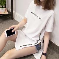 Nkandby/Большие размеры, чудесные длинные футболки с принтом на день, летние женские свободные топы с разрезом, хлопковые футболки с коротким р...