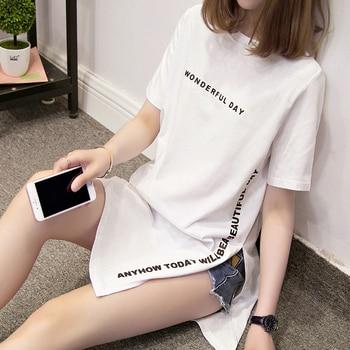 цена на Nkandby Plus size WONDERFUL DAY Print Long T shirts Summer Women Loose Slit Femme Tops Cotton Tshirt Short sleeve Ladies t-shirt