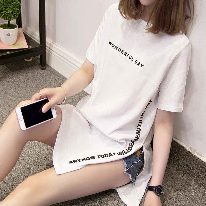 Nkandby Plus size WONDERFUL DAY Print Long   T     shirts   Summer Women Loose Slit Femme Tops Cotton Tshirt Short sleeve Ladies   t  -  shirt