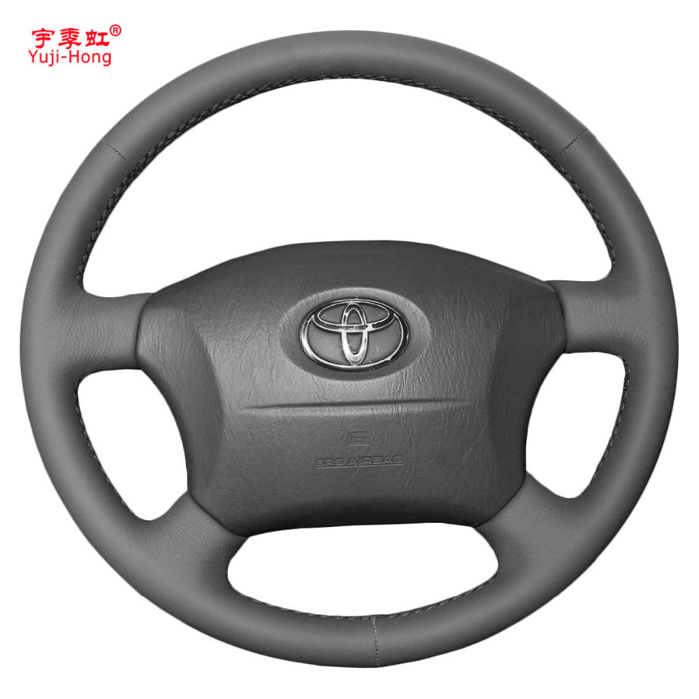 Yuji-Hong Black Artificial Leather Car Steering Wheel Covers Case For Toyota Prado 2004-2006 Land Cruiser 2006 LC120 Cover