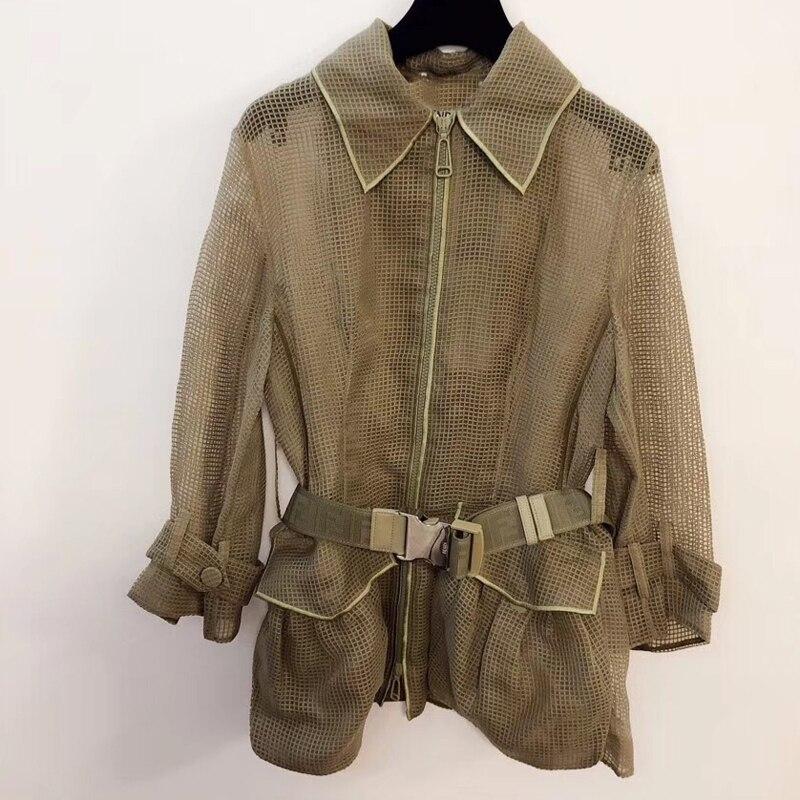 Женская Повседневная куртка для лета Модная куртка для отпуска пальто с поясом 2019 Новая женская куртка с длинным рукавом верхняя одежда
