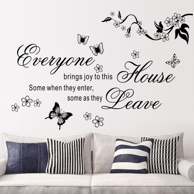 Bring Joys To This House Vinyl Wall Stickers Flower Quotes 8448 Butterfly  Home Decor Mural Wall