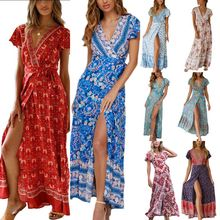 цены на Women Ladies Boho Floral Print V Neck Holiday Short Sleeve Split Summer Beach Maxi Dress Sundress в интернет-магазинах