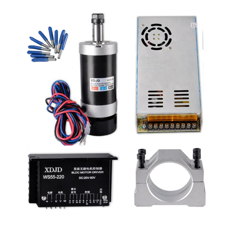 ER11 Brushless 500W DC Spindle CNC machine wood Router 55MM Clamp Stepper Motor Driver Power Supply 3.175mm cnc part tools er11 brushless dc spindle 500w 55mm clamp stepper motor driver power supply cnc cutters