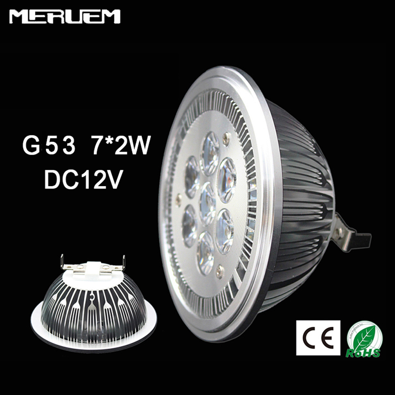G53 ES111 QR111 AR111 Жарықдиодты шам 14 Вт Spotlights 7 * 2w шамдары Жылы White / Nature White / Cool White кіріс AC / DC 12V Low Voltage