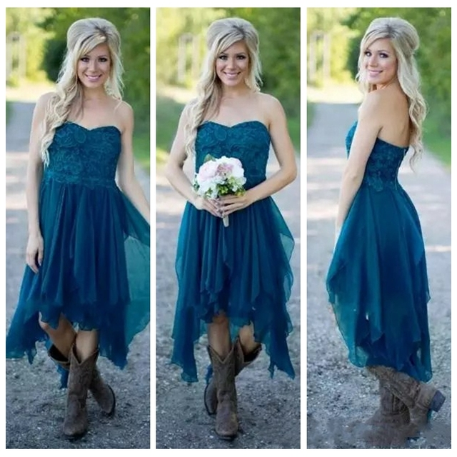 e591335e06d5 Country Bridesmaid Dress 2017 Short Hot Cheap For Wedding Teal Chiffon Beach  Lace High Low Ruffles Party Maid Honor GowNS