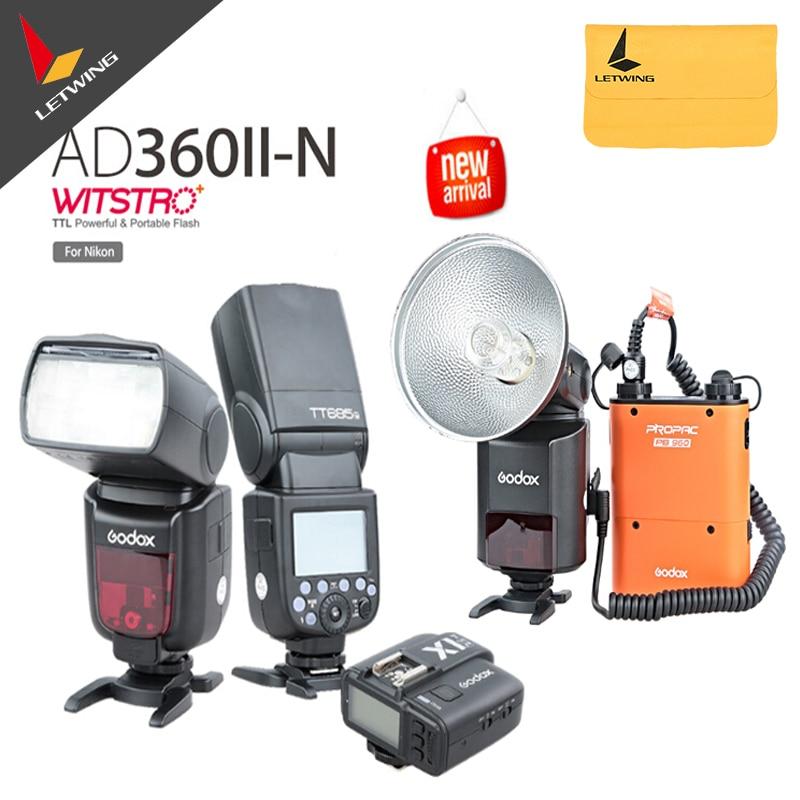 Original Godox AD-360 MARK II AD360II-N  Flash Light Speedlite +PB960 Orange Battery+2X TT685N 2.4G Flash + X1N Transmitter Kit meike dslr camera built in 2 4g battery grip for canon eos 7d mark ii as bg e16