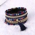 Venta caliente de Boho de La Manera Rhinestone de Múltiples Capas de La Borla de Cuero Pulseras y Brazaletes de la joyería Magnética para hombres de las mujeres pulseira regalo
