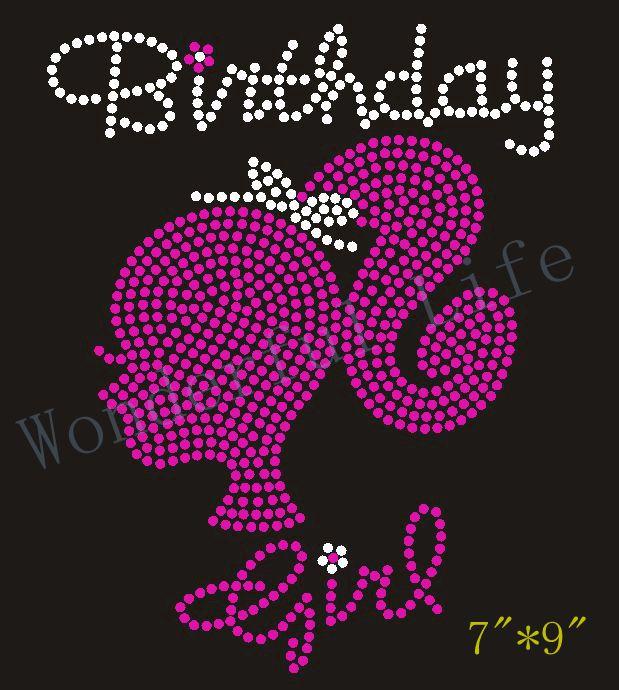 Free Shipping Birthday Rhinestone Girl Hotfix Transfer Iron On Patch infant  birth T-shirt design e457888338da