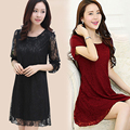 4XL Loose  Forest Girl Style Lace Dress Short Sleeve Chiffon Dress 2016 Summer A-line Knee-length Dress U012