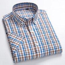 100% Pure Cotton Summer Short Sleeve Shirt Men Checker Korean Ultra-thin Slim Mens Casual Fit Half-sleeved