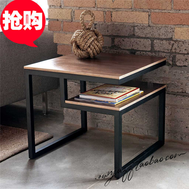 Hierro ocio mesa país de américa para hacer el viejo retro de moda creativa minimalista mesa de centro de madera, escritorio de la tabla de diamo rojo