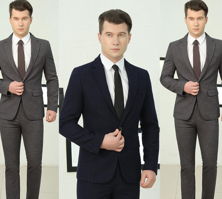8a97d2246d Hombre gris Estilo azul Novio Pantalones De Estrella Ropa Traje Con 1 Pista  Boda Chaqueta Baile Hombres Trajes Negro Marino Vestido Cantante Formal ...