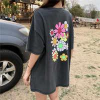 2019 frühling sommer floral print lose grau kurzarm t shirts frauen tops t shirt femme (R4423)