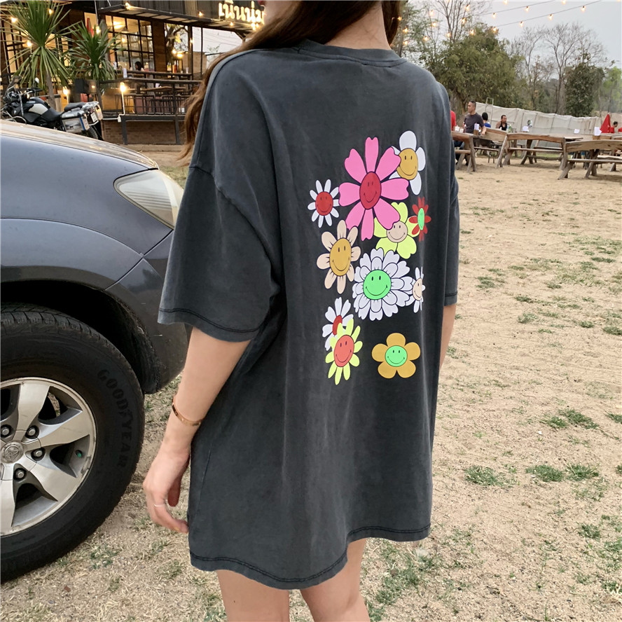 2019 Spring Summer Floral Print Loose Grey Short Sleeve T Shirts Womens Tops Tee Shirt Femme (R4423)