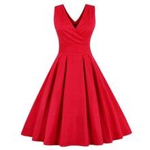 Women Sleeveless Vintage Summer Dress 50s 60s Swing Retro Plus Size M~4XL Cotton Party bowknots Feminino Vestidos