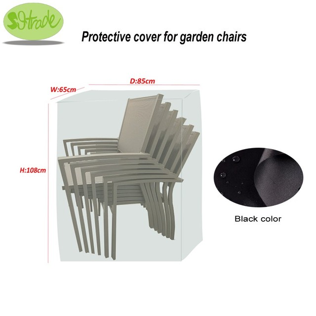 Protective Cover For Garden Chairs Black Color Durable Waterproofed 65x85x108cm Outdoor Furniture Covers Custom Available
