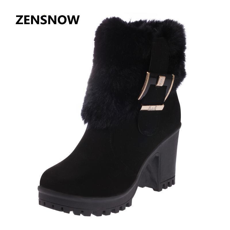 2017 nuevas botas de invierno, mujer con gruesas botas de tacón alto del todo-fósforo más Suede zapatos Metal Decoración