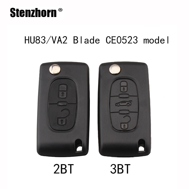 stenzhorn-2-3-buttons-ce0523-model-car-remote-key-shell-fob-for-peugeot-for-citroen-hu83-va2-optional-no-logo
