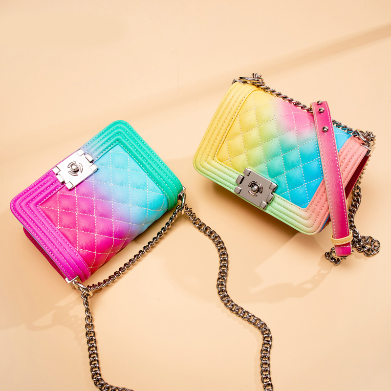 Women's Bags Caviar Graffiti Shoulder Bags Luxury Handbags Women Famous Brand Bags Designer Rainbow Female Crossbody Bag Messeng
