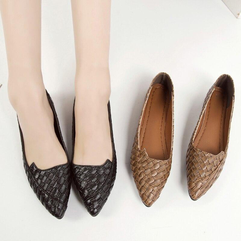 Appartements Printemps Bout Dames Glissement Mujer Armure Noir marron Zapatos 66h22 Bateau Chaussures Pointu Sur Automne Femme Femmes Ballerines Des SSrxq1fE