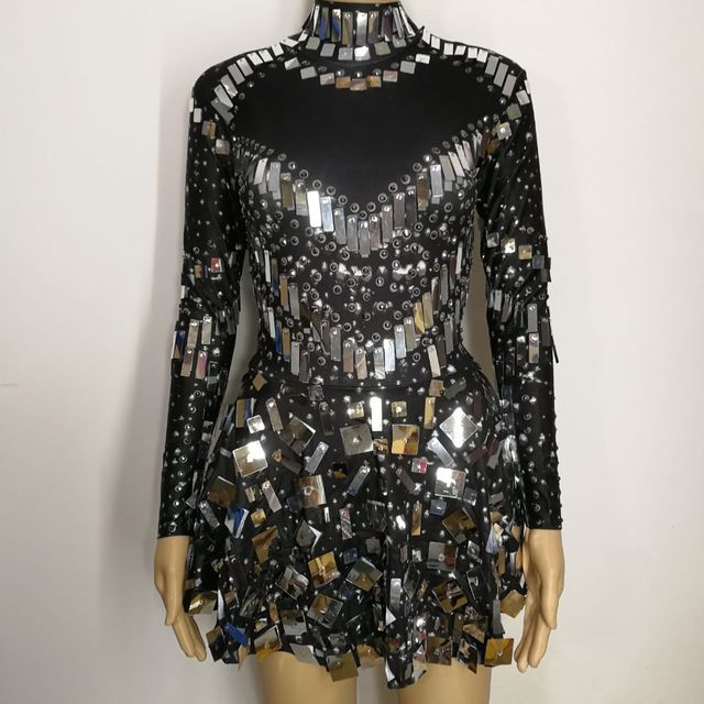 black skin Sequins bright mirrors stones Dress sexy Nightclub crystals costumes female singer prom Party performance one-piece