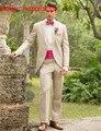 Beige Long Blazer Masculino Slim Fit Mens Suits Custom Made Wedding Groom 2016 Tailcoat Groomsman