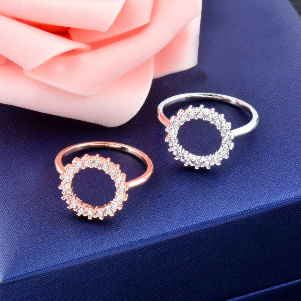SINLEERY Роскошные элегантные круглые кольца на пальцы розовое золото серебро Цвет Кристалл инкрустация свадебные кольца для женщин ювелирные изделия JZ023 SSD