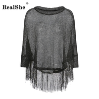 RealShe T Shirt Women Autumn 2017 Womens Tops Sequins Batwing Sleeve Hollow Out T Shirt With