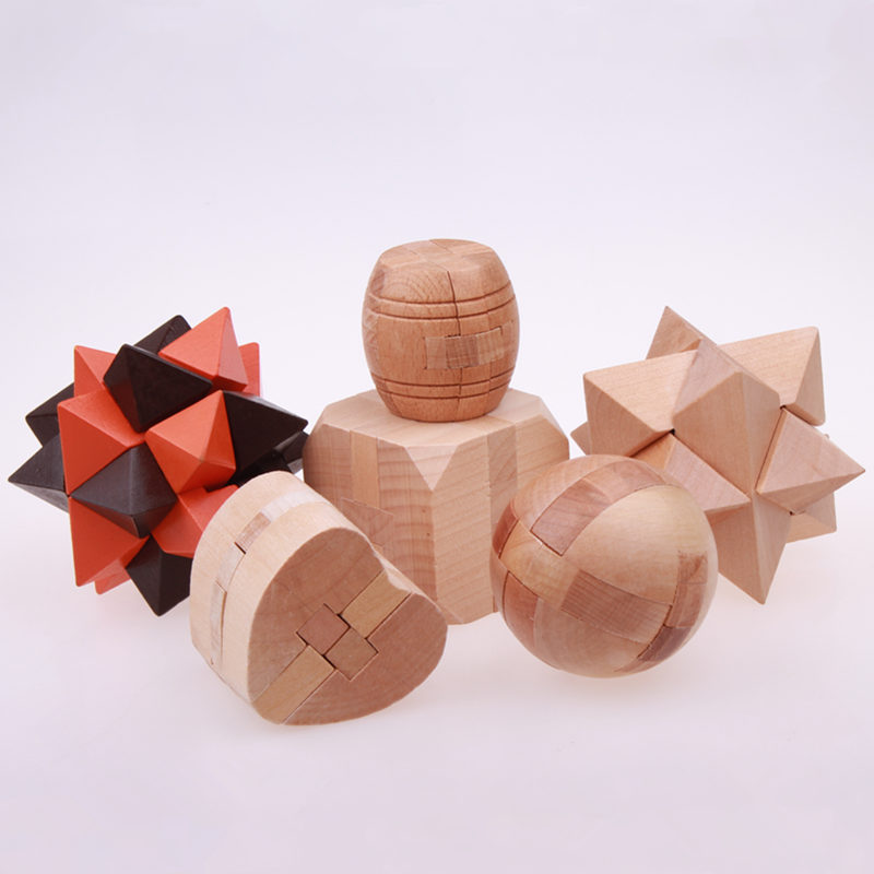 3D WOODEN PUZZLES TOYS INTERLOCKING GAME EDUCATIONAL FOR ADULTS AND KIDS WHOLESALE BRAIN TEASER