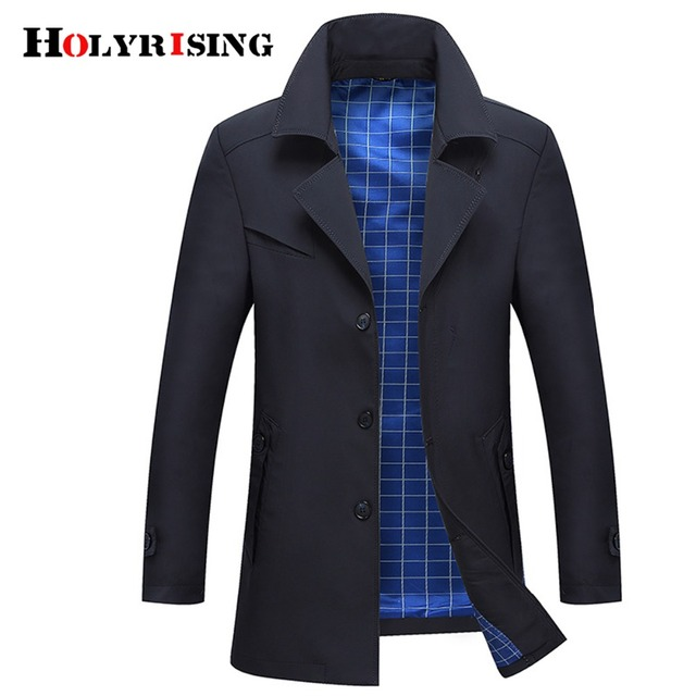 Holyrising Trench Coat Men Casual Windbreaker Turn Collar Overcoat Single Button Male Fashion Jackets Confortable Cloths 18440-5