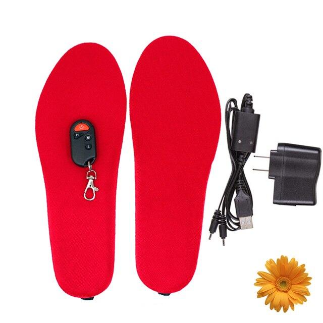 Winter Outdoor Skiing 1800mAh Battery Heated Insoles Men semelle chauffante Women Remote Wireless Electric Heating Soles (S / L)