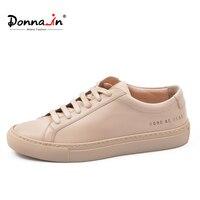 Donna как в тапках Для женщин из натуральной кожи на плоской подошве Низкая Высокая платформа женские на шнуровке модная дышащая обувь Для жен